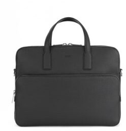 BOSS Single document case in grained Italian leather