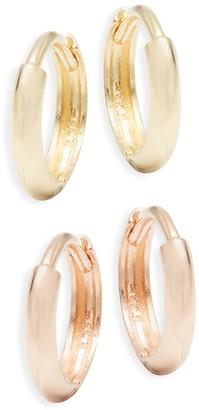 Saks Fifth Avenue 14K Yellow Rose Gold Huggie Hoop 2-Piece Earring Set