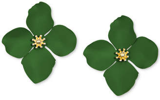 Zenzii Gold-Tone Painted Metal Flower Stud Earrings