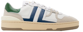 Lanvin White and Blue Leather Clay Sneakers