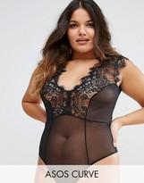 Asos Sidney Eyelash Lace Plunge Bodysuit