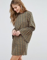 Influence Shirred Sleeve Shift Dress