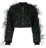 Amen studded cropped feather jacket