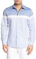 Stone Rose Men's Trim Fit Colorblock Stripe Sport Shirt