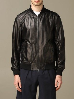 Low Brand Leather Bomber With Zip