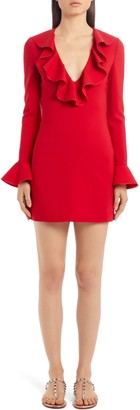 Valentino Ruffle Trim Long Sleeve Stretch Wool Minidress