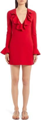 Valentino Ruffle Trim Long Sleeve Stretch Wool Minidress