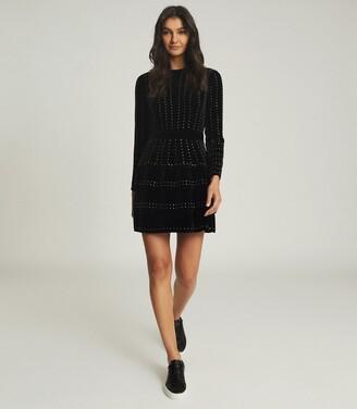 Reiss Angie - Embellished Velvet Mini Dress in Black