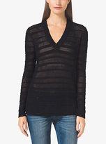 Michael Kors Mesh Cotton-Blend V-Neck Sweater