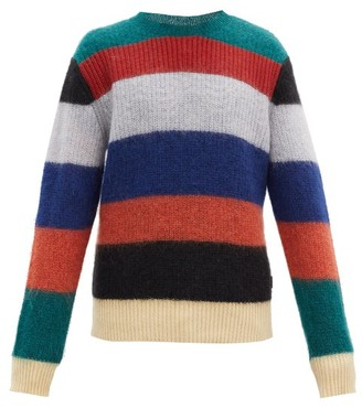 Marni Striped Mohair-blend Sweater - Orange Multi