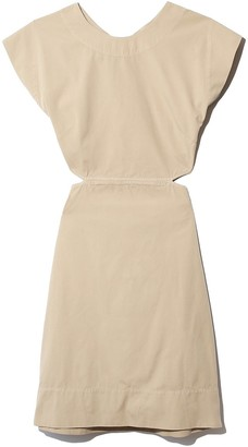 Bassike Washed Canvas Cut Out Dress in Tan