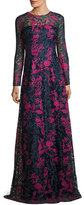 David Meister Long-Sleeve Embroidered Floral Lace Gown, Blue/Multicolor