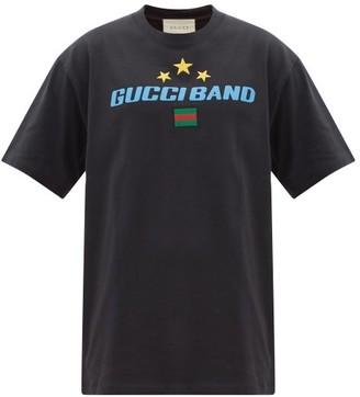 Gucci Logo-print Flag-embroidered Cotton T-shirt - Black