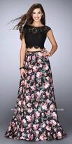 La Femme Floral Print Lace Up Back Scalloped Prom Dress
