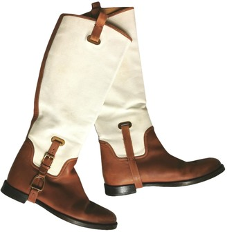 Ralph Lauren White Leather Boots