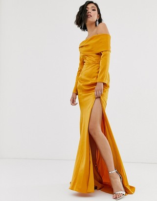 Bardot Yaura maxi dress with high split and fishtail in gold