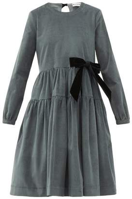 Molly Goddard Deliah Velvet-bow Cotton-blend Corduroy Dress - Womens - Grey