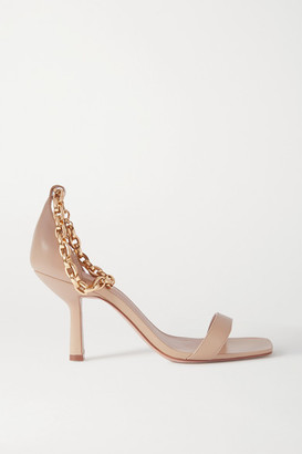 PORTE & PAIRE Chain-embellished Leather Sandals - Beige