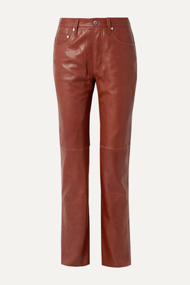 Helmut Lang Leather Straight-leg Pants - Brick