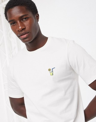 Selected t-shirt with embroidered chest logo in off white