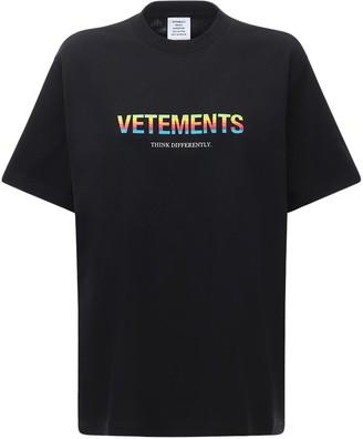 Vetements Big Logo Printed Cotton Jersey T-shirt