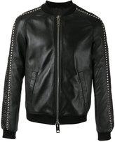 Les Hommes stud detail bomber jacket - men - Leather/Viscose - 48