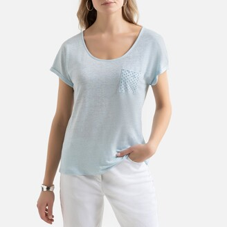 Anne Weyburn Linen Short-Sleeved T-Shirt with Crew-Neck and Pocket