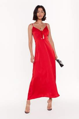 Nasty Gal Womens Of Course Knot Satin Tie Midi Dress - Red - 6