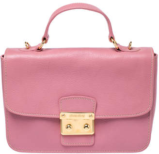 Miu Miu Pink Leather Madras Top Handle Bag
