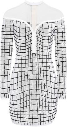Balmain Tulle-paneled Checked Knitted Mini Dress