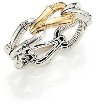 John Hardy Bamboo 18K Yellow Gold & Sterling Silver Link Bangle Bracelet