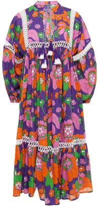 Dodo Bar Or Crochet-trimmed Floral-print Cotton Dress