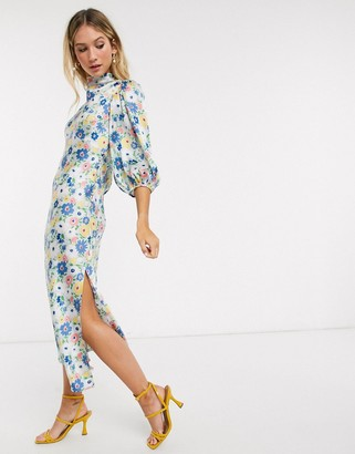 Asos DESIGN cowl neck satin tea midi dress with puff sleeve in floral print