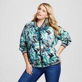 Ava & Viv Women's Plus Size Bomber Jacket Black Palm Print