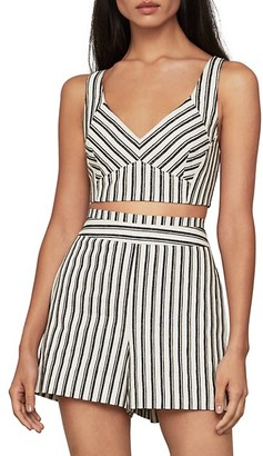 BCBGMAXAZRIA Stripe V-Neck Sleeveless Crop Top