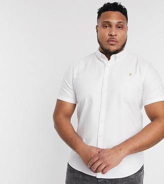 Farah Brewer slim fit short sleeve oxford shirt in white