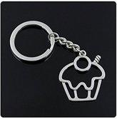 Nobrand No brand fashion men 30mm keychain DIY metal holder chain vintage cake cupcake 3631mm antique silver pendant