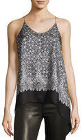 Helmut Lang Floral Silk Cami Scarf Top, Blush/Multi