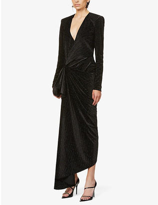 Redemption Wrap-over velvet maxi dress