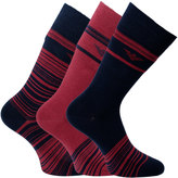 Emporio Armani 3 Pack Calza Red & Navy Striped Socks