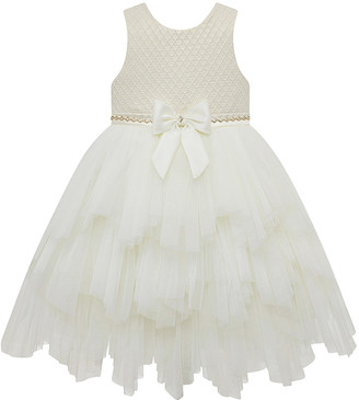 Princess Girls Couture Princess Girls' Special Occasion Dresses IVORY - Ivory Jacquard-Bodice Tiered A-Line Dress - Girls