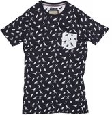 Brave Soul Mens Forest Bird Pattern Short Sleeve T-Shirt (L) (Navy/White)