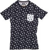 Brave Soul Mens Forest Bird Pattern Short Sleeve T-Shirt (S) (Navy/White)
