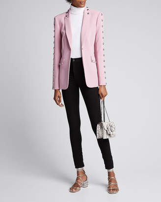 Cinq à Sept Dive Studded Crepe Single-Button Jacket
