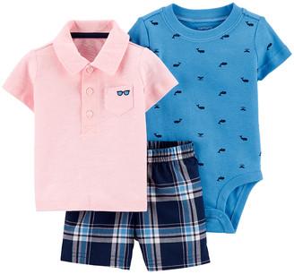 Carter's Boys' Infant Bodysuits Pink - Pink Sunglasses Pocket Polo Set - Newborn & Infant