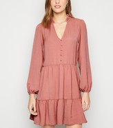 New Look Mid V Neck Button Front Smock Dress