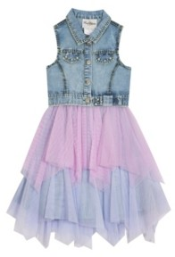 Rare Editions Big Girls Denim Dress with Mesh Skirt