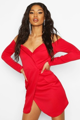 boohoo Off the Shoulder Blazer Bodycon Dress