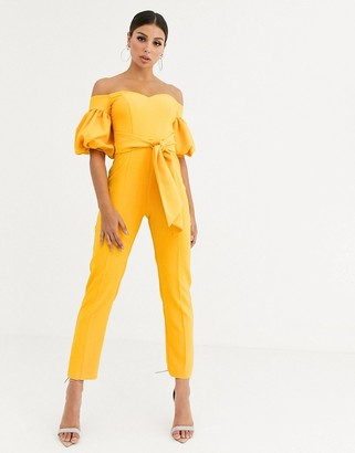 Asos Design DESIGN off shoulder puff sleeve jumpsuit with belt-Yellow