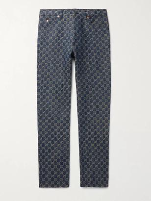 Gucci Leather-Trimmed Logo-Jacquard Denim Jeans - Men - Blue